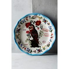 Nathalie Lété Francophile Dinner Plate ($24) ❤ liked on Polyvore featuring home, kitchen & dining, dinnerware, owl, owl dinnerware and microwave safe dinnerware