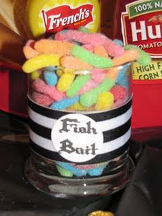 """""""fish bait"""" gummy worms for Pirate party * Website has lots of other creative ideas for a pirate party. Pirate Day, Pirate Birthday, Pirate Food, Pirate Snacks, Pirate Themed Food, Pirate Party Games, Pirate Halloween, 4th Birthday Parties, Birthday Fun"""