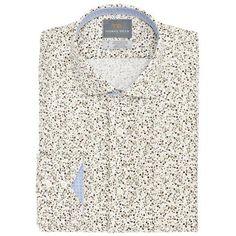 Big & Tall Green Poplin Print Button Down Sport Shirt - Thomas Dean & Co