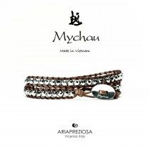 Mychau - Bracciale Vietnam originale realizzato con Ematite Placcata (Argento) naturale su base bracciale col. Testa di Moro