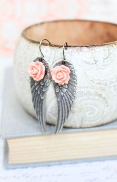 Silver Wing Earrings Angel Wings Long Dangle Earrings Coral Pink Rose Modern Jewellery Fairy Wings Bird