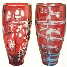 Czech glass ruby and amethyst vase from Dual collection designed by Karel Wunsch in Novy Bor for Borske sklo in 1971