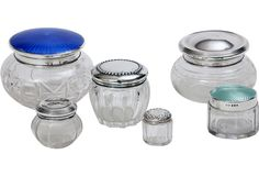 #crystal powder #jars with sterling #silver and enameled lids.