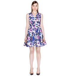 Floral Taffeta V-Neck Dress by Cue