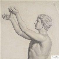 Johann Friedrich Overbeck (deutsch, 1789 - 1869) Titel: Studie des Betenden Epheben des Leochares Medium: chalk on paper Größe: 44 x 44 cm (17,3 x 17,3 in)