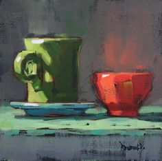 Pink Bowl and Green Fiesta Cup, painting by artist Cathleen Rehfeld