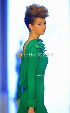 Elegant Design Forest Green Bateau Flower Long Sleeve Open Back Mermaid Fashion Dubai Evening Dresses