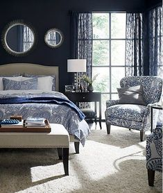 Rays of steel wire radiate from a corona of silvery drippings in our contemporary starburst mirror. This sunny mirror sparkles in the foyer, dining room or bedroom. Blue Accent Walls, Accent Wall Bedroom, Blue Bedroom, Bedroom Sets, Master Bedrooms, Bedding Sets, Comforter, Master Suite, Nautical Bedroom