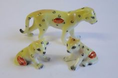 Vintage Bone China CHEETAH Family Lot of 3 Figurines Animal Miniature Japan