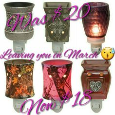 Blackberry, Charity, Heartfelt, Mossy Oak, Mossy Oak Pink, and Silvervine all leave you March 1, 2017!!! 10% discount in February! Exception for mossy oak and mossy oak pink. rhodeswickless.scentsy.us