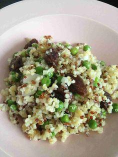 Salade quinoa/boulgour petits pois et raisin sec