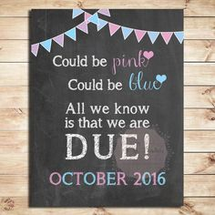 Pregnancy announcement sign Could be pink by PinkPandasPrints