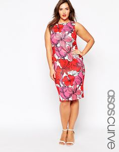 ASOS+CURVE+Bodycon+Dress+in+Orchid+Print