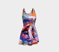 Flirty, Flare Dress by Ingrid Kamerbeek. Make a statement with an artwork printed dress! Made in micro-knit fine smooth fabric Fall Dresses, Summer Dresses, Artwork Prints, Flare Dress, Tie Dye Skirt, Thighs, Knitting, Womens Fashion, Skirts