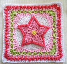 Star Overlay (crochet pattern, free on Ravelry)  This pattern would make a cute baby blanket with these squares.