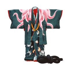 I love the octopus theme.    Short coat (haori) and blue kimono (sitsuke) with octopus and shell decoration. Japan, 1980s   ©Shochiku Costume Co, Ltd, Tokyo