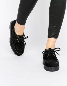 ce185c69e0 Shop Underground Wulfrun Black Suede Creeper Shoes at ASOS.