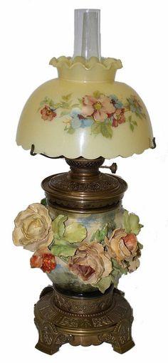 Barbotine Majolica Oil Lamp