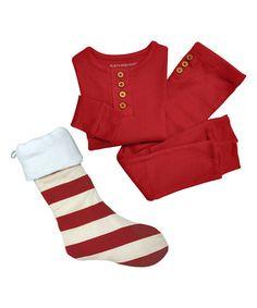 Loving this Cranberry Henley Pajama Set & Stocking - Infant, Toddler & Kids