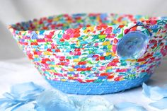 Blue Summer Basket Handmade Fabric Bowl Brush by WexfordTreasures