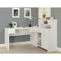 White Hollow-Core L Shaped Home Office Desk - Monarch Specia.- White Hollow-Core L Shaped Home Office Desk – Monarch Specialties White Hollow-Core L Shaped Home Office Desk – Monarch Specialties - White Corner Desk, Corner Desk With Hutch, Office Desk With Hutch, Computer Desk With Shelves, White Desk Office, Desk Shelves, White Desks, Desk Storage, Home Office Desks