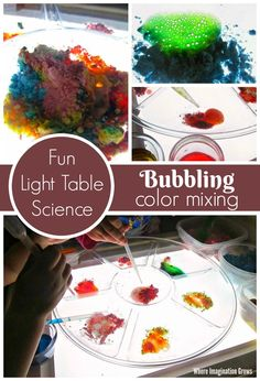 Bubbling color mixing for kids! Simple light table science for preschoolers! Fun with baking soda and vinegar! Preschool Science Activities, Sensory Activities Toddlers, Stem Science, Infant Activities, Primary Science, Sensory Bins, Sensory Play, Preschool Ideas, Science Experiments Kids