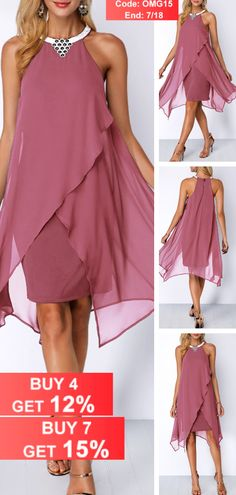 Embellished Neck Asymmetric Hem Chiffon Overlay Dress - Valentine's Day isn't all about the lovebirds -- treat yourself on this special day and buy yourself some Valentine's inspired goodies! Who can pass up these Valentine's Day Gifts For Yourself! Pretty Dresses, Beautiful Dresses, Evening Dresses, Summer Dresses, Summer Outfits, Easy Outfits, Dresses 2016, Mini Dresses, Mother Of Groom Dresses