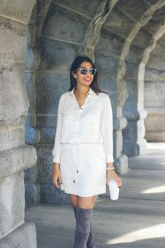 cream winter dress, easy fall outfit
