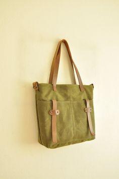 Waxed canvas tote leather accessories military green messenger bag handbag shoulder bag  waxed canvas bag