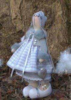 Купить Зайка новогодняя - 38 cм - серый, зайчик, заяц тильда, заяц текстильный