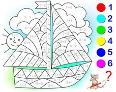 Educational page with exercises for children on addition and subtraction. Need to solve examples and to paint the image in relevant colors. Developing skills for counting. Mental Maths Worksheets, Preschool Activities, Math For Kids, Fun Math, Learning Through Play, Kids Learning, Math Pages, Hedgehog Craft, English Teaching Materials