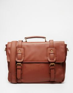 ASOS Satchel In Brown Faux Leather