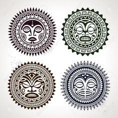 Set of polynesian tattoo styled masks Vector illustration