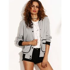Grey Contrast Trim Binding Pocket Button Up Baseball Jacket ($26) ❤ liked on Polyvore featuring outerwear, jackets, button up jacket, pocket jacket, button down jacket and beige jacket