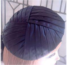 Vintage Millinery Black Satin Beret Hat