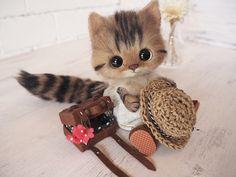 麦わらキジトラちゃん - creamyのふわふわ羊毛フェルト猫ちゃん