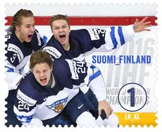 Finnish World Juniors Team Commemorated on Stamp Hockey Baby, Ice Hockey, Finnish Words, Helsinki, Commemorative Stamps, Small Art, My Land, Best Cities, Postage Stamps