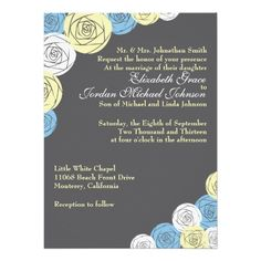 Wedding Invitation Classic Rose Floral in Grey