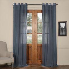"Laurel Foundry Modern Farmhouse Single Curtain Panel Size: 50"" W x 120"" L, Color: Tahoe Blue"
