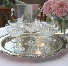 Vintage Saucers French Champagne Coupe Glasses Made in France - Set of 6 Vintage Gifts, Vintage Shops, Vintage Items, Vintage Tableware, Vintage Dishes, Champagne Coupe Glasses, Champagne Saucers, Vintage Cookbooks, Diamond Pattern