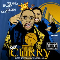 """Chef Curry """"We only splash 4 Golden State"""" cover art  inspired by Rarkwon's classic album  """"Only built 4 Cuban Linx"""" featuring the Warriors Klay Thompson and Stephen Curry. Vector artwork by Tony.psd"""