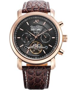 KS Mens Wrist Watch Elegant KS368 Self-winding Mechanical Day/ Date Month/Year Display Leather Band Brown by KS -- Awesome products selected by Anna Churchill
