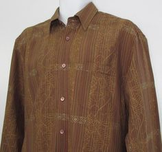 Tommy Bahama 100% Silk Shirt Long Sleeve Stripe & Floral Burnt Orange…