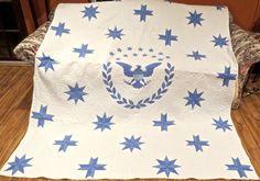 C1890 Blue Amp White Museum Quality Fine Tiny Stitched Patriotic Quilt 71  x 88
