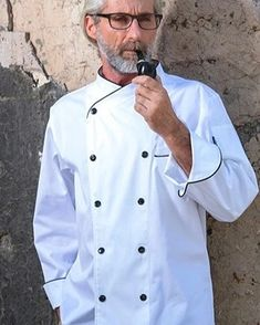 White Professional Chef, White Long Sleeve, Mens Suits, Double Breasted, Chef Jackets, Overalls, Trousers, Sleeves, Cotton