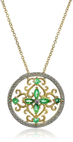 Yellow Gold-Plated Sterling Silver Necklace with Diamonds and Gemstones ** You can get more details by clicking on the image. (This is an Amazon Affiliate link and I receive a commission for the sales)