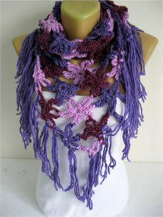 Crochet chal bufanda bufandas invierno calentador por MebaDesign