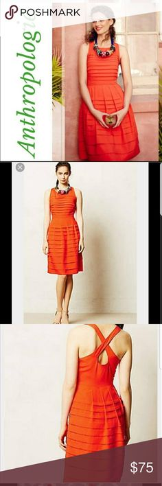 NWT-Anthro Dress Gorgeous bright red-orange dress from Eva Franco/Anthropologie. Brand new with tags. Perfect summer dress! I bought awhile ago and thought I'd fit in it eventually but that is just not going to happen.  So time to find  a new home.  Stock photos are pretty true to actual color. Tag color says orange, but def a bright red orange Anthropologie Dresses