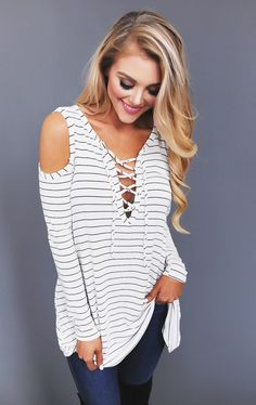 Ivory Striped Open Shoulder Tie Front Top - Dottie Couture Boutique