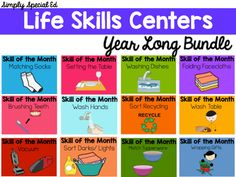 This Year Long Life Skills Bundle is the perfect way to implement a life skills center to your classroom and curriculum! Our kiddos need lots of time to practice and generalize skills, this bundle focuses on one skill per month for 12 months.Skills included:- Matching Socks- Setting the Table- Washing Dishes- Folding Facecloths- Brushing Teeth- Washing Hands- Sorting Recycling- Vacuuming- Sorting darks and lights- Matching Tupperware- Wrapping GiftsIncluded for each skill: - visuals- letter…